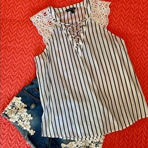 EXPRESS Lace Up Striped Top size Large EUC